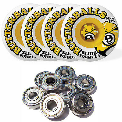 SECTOR 9 Longboard Wheels BUTTERBALLS 80A WHITE 65MM with BEARINGS
