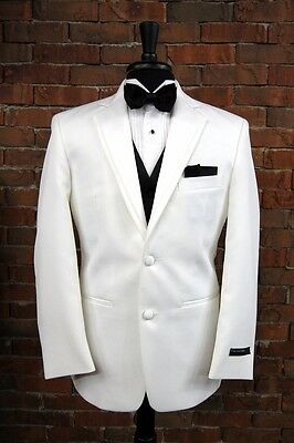 MENS NEW 56 L WHITE SLIM FIT DINNER JACKET TUXEDO 2 BUTTON NOTCH by PERRY ELLIS