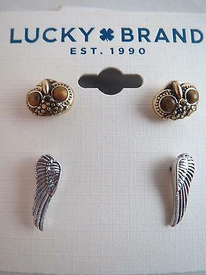 Lucky Brand Set 2 Gold Tone Owl Silver Wing Post Earrings Nwt