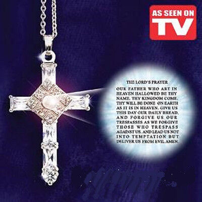 AS SEEN ON TV THE LORD'S PRAYER CROSS NECKLACE SALE Deluxe! Gift NEW IN BOX