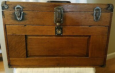 Vintage Union machinist tool box marked 904 marked Le Roy NY USA tool chest oak