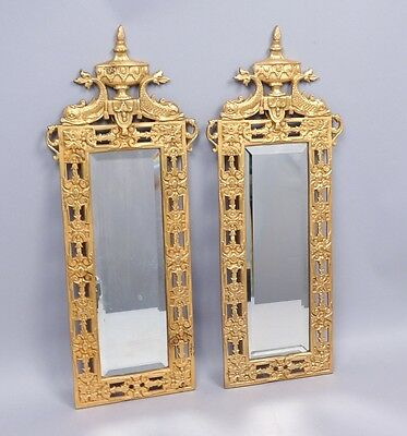 Pair Antique 19c Gilded Iron Filigree Dolphin & Urn Beveled Glass Mirrors