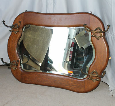 Antique Oak Hall Wall Mount Mirror with Four Cast Hooks