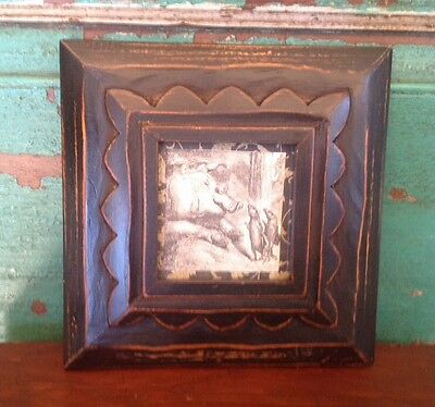 1880's Victorian Black And White Whimsical Pig And Mice, Framed Ephemera
