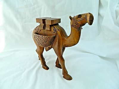 "Egyptian Medium Fancy Wooden Camel Hand Carved Figurine With Saddle 5.5"" X 6.5"""