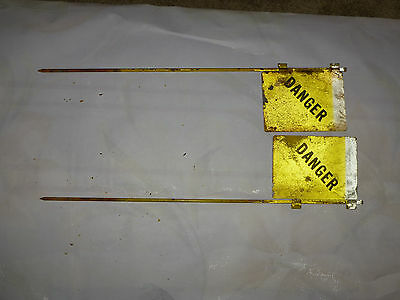 2 WWII US Military Metal DANGER Land Mine Marker Flag Sign Yellow Florescent - C