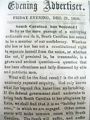 3 1860 newspapers SOUTH CAROLINA SECEEDS Confederate States of America CIVIL WAR