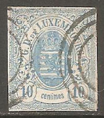 1859 Luxembourg Imperf Arms 10c Pale Blue SG 10 Used (Cat £31)