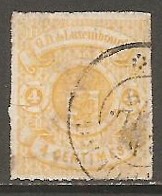 1865 Luxembourg Rouletted Arms 4c Yellow SG 19 Used (Cat £275)