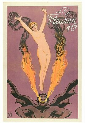 Fleuron & Company Fire Breathing Devil and Nude Woman Circus Modern Postcard