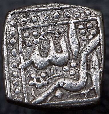 India Mughal Akbar 1556-1605 AR Square 1/2 Rupee Ilahi 42 Mintless KM#63.1
