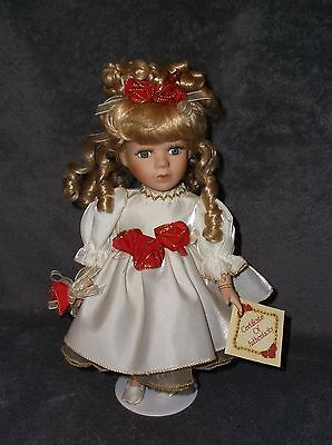 """Vintage 12"""" Collector's Choice Porcelain Christmas Doll Blonde Green Eyed W/tag"""