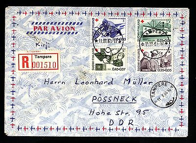 14593-FINLAND-AIRMAIL REGISTERED COVER TAMPERE to POSSNECK(germany)1964.FINLANDE