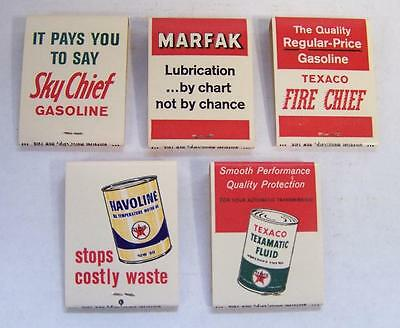 NOS 5 Texaco Matchbooks Sky Chief Fire Chief Gasoline Marfak Havoline Texamatic