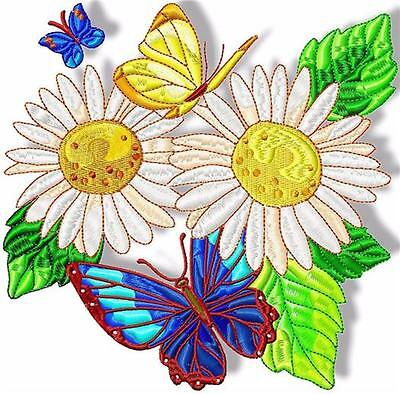 DAISY AND BUTTERFLIES10 MACHINE EMBROIDERY DESIGNS 3 sizes