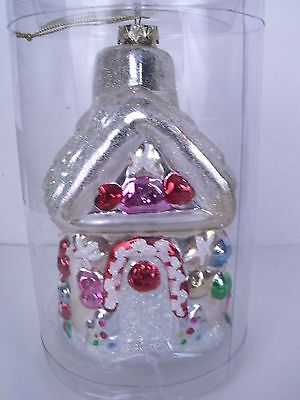 Large Glittered Gingerbread House Christmas Ornament Shatterproof