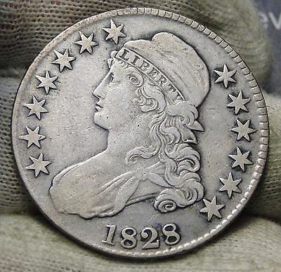 1828 Capped Bust Half Dollar 50 Cents - Nice Coin Free Shipping (5593)