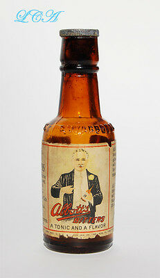 Little AMBER color ABBOTT AROMATIC BITTERS mini sample LABELED bottle w/ STOPPER