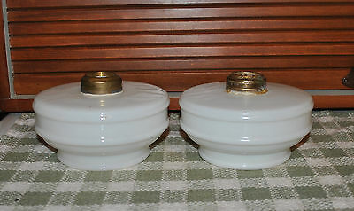 Pair Antique Milk Glass Oil Lamp Fonts for Hanging Fixture