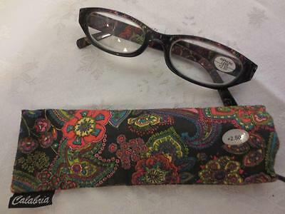 NEW !! CALABRIA Womens BLACK MULTICOLOR FLORAL Reader READING GLASSES +2.50 NWT