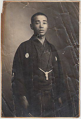 Antique Photo / Young Man in Kimono / Japanese / c. 1930s