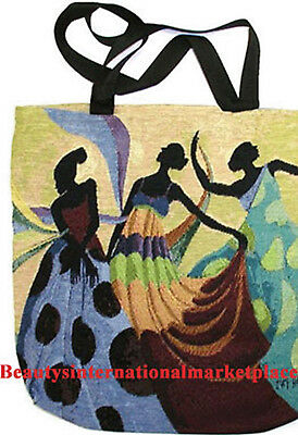 """Tapestry Tote Bag/Hand Bag/African Clothing/Ivey Hayes """"DANCERS IN BLACK"""""""