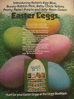 L'Eggs, Full Page Vintage Print Ad, Nylons, Easter Eggs
