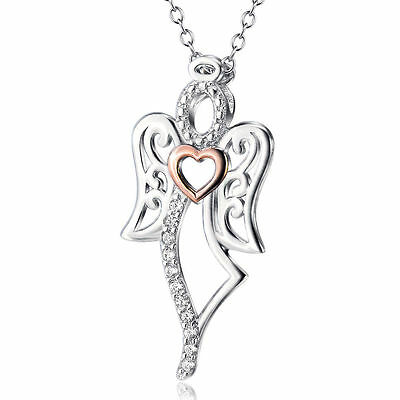 Solid Sterling Silver Heart Angel Wings Cross Crystal CZ Necklace Jewelry Gifts