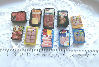10 barquettes Aliment Factice pr Maison Poupée Vitrine Doll House packet Food