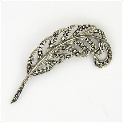 French Silver and Marcasite Feather Brooch