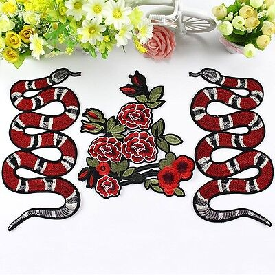 Snake Flower Design Red Embroidered Applique Sew on Patches Badge Decoration DIY