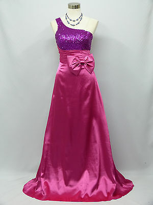Cherlone Pink One Shoulder Ballgown Wedding Evening Bridesmaid Formal Dress 12