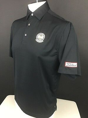 Men's Footjoy Black Polo PGA Patch Golf Shirt Titleist Logo (L)