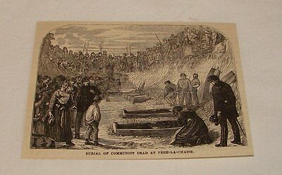 1877 magazine engraving ~ BURIAL OF DEAD COMMUNIST, Paris