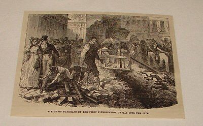 1877 magazine engraving ~ INTRODUCTION OF GAS TO PARIS, France