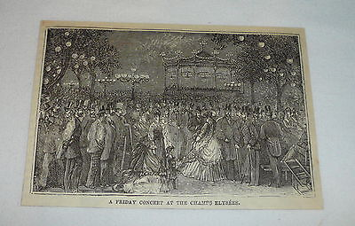 1877 magazine engraving ~ CONCERT AT CHAMPS ELYSEES, Paris