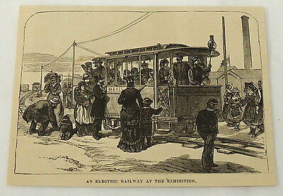 1881 magazine engraving ~ELECTRIC RAILWAY at ELECTRIC EXHIBITION ~ Paris, FRANCE