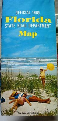 State Of Florida Official Automobile Highway Road Map 1969 Vintage Travel