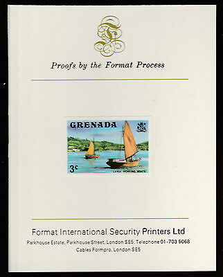 Grenada (456) 1975 Working Boats 3c imperf on Format International PROOF  CARD