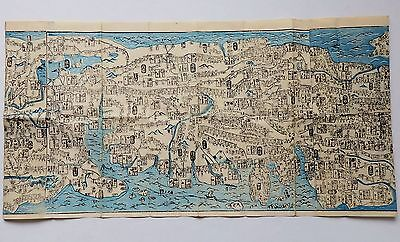 Japanese Woodblock Print Old Long Map 5-071 Japan travel guide 79.13inches