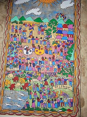 """mexican bark painting palenque 24"""" x 15"""""""