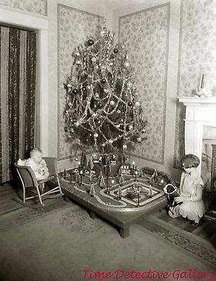 A Vintage Christmas Tree & Christmas Village - c1920 - Historic Photo Print