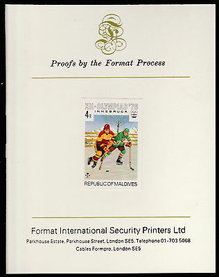 Maldives (475) 1976 Ice Hockey imperf on Format International PROOF  CARD