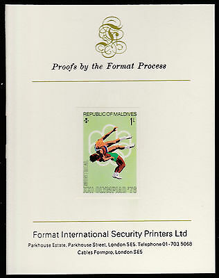 Maldives (484) 1976 Wrestling imperf on Format International PROOF  CARD