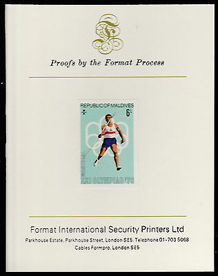 Maldives (488) 1976 Javelin imperf on Format International PROOF  CARD