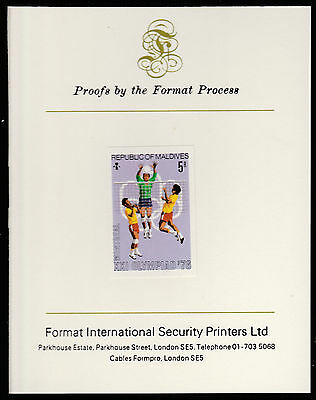 Maldives (490) 1976 Volleyball imperf on Format International PROOF  CARD