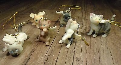 Six cat kitty winged Angel pet ornaments w/ wings lot of 6 Christmas ornaments