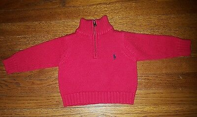 Polo by Ralph Lauren Long Sleeve Red Zippered Pullover Sweater Baby Boy Size 9M