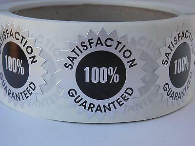 Satisfaction Guaranteed 100% 1.5 Starburst Sticker Label dull silver foil 250/rl