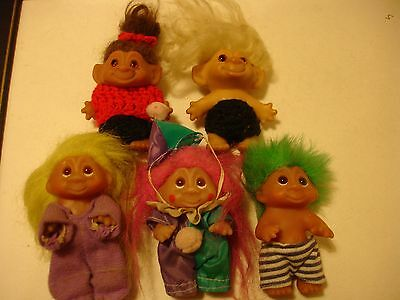 5  Small Vintage DAM TROLLS 1960s and 1980's